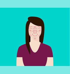 Facial recognition women with face tracking point vector