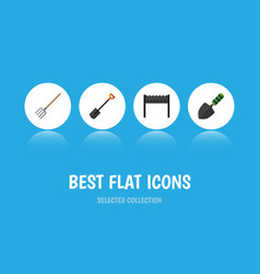flat icon farm set of barbecue spade trowel and vector image