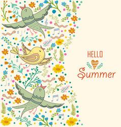 Floral card design flowersleaf and birds doodle vector
