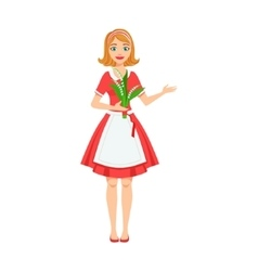 Girl Florist In Apron Working As Flower Shop vector