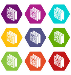 glass construction block icons set 9 vector image