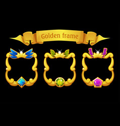 Gold frame with gem square template with ribbon vector