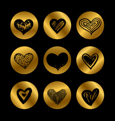gold icons with hand drawn black hearts set vector image