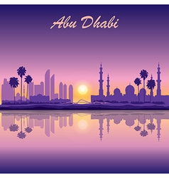 Great mosque of abu dhabi on the city background vector
