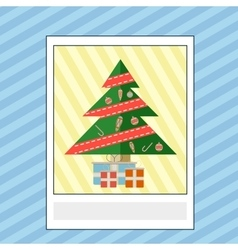 Greeting card with Christmas tree and gifts vector