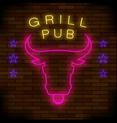 grill pub neon colorful sign vector image