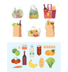 grocery bags shopping basket market bagged food vector image