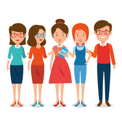 group of teachers cartoon vector image