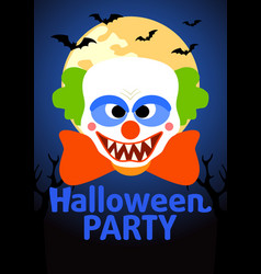 Halloween party banner with clown vector