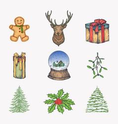 hand drawn colorful christmas icons bundle vector image