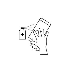 Hand with a rag wipes phone with an vector