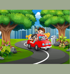 happy family riding cars in the city park vector image