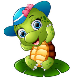 happy turtle with blue cap on the lotus leaf vector image