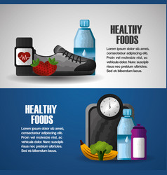 healthy lifestyle sport gym food vector image