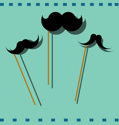 Hipster image with mustache colorful photo vector
