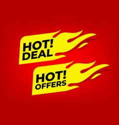 Hot deal and hot offers fire labels vector
