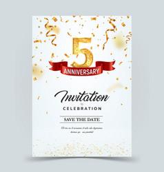 Invitation card template 5 years anniversary vector