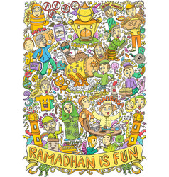 Islamic doodle for ramadhan and eid mubarrak event vector