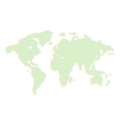 isolated green color worldmap dots on white vector image