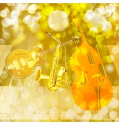 jazz instruments on shiny background vector image