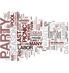 labor day party and picnic ideas text background vector image