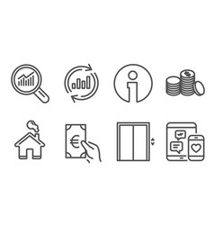 Lift update data and banking money icons data vector