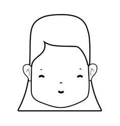 Line woman face with hairstyle and expression vector