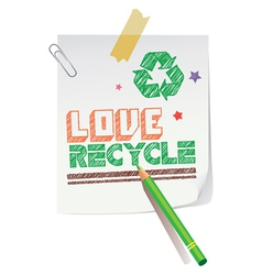 Love Recycling vector image