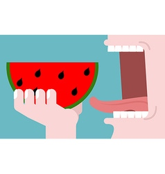 Man eating watermelon fruit consumption Red fresh vector