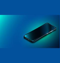 modern smartphone on dark blue background vector image