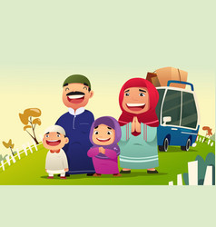 Muslim family going home to celebrate eid al fitri vector