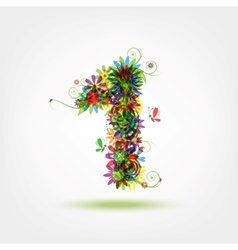One floral number for your design vector image