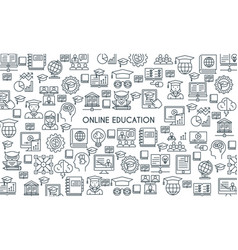 Online education line banner vector
