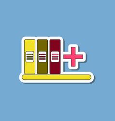 Paper sticker on stylish background shelf folder vector