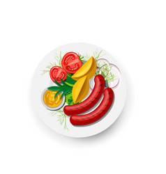 potatoes with vegetables and sausage on plate icon vector image