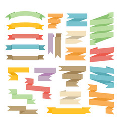 Ribbons with curl set isolated on white background vector