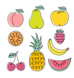set fruits vector image