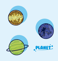 Set galaxy planets vector