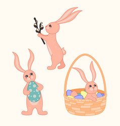 set of cute cartoon easter bunnies vector image
