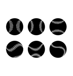 set silhouette professional baseball ball to game vector image