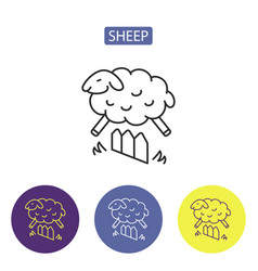 sheep line icons vector image