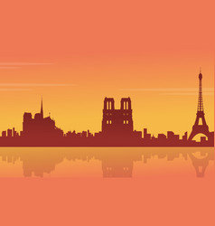 silhouette of building france city scenery vector image