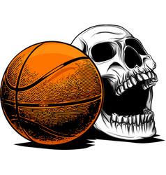Skull basketball ball is head of skeleton emblem vector