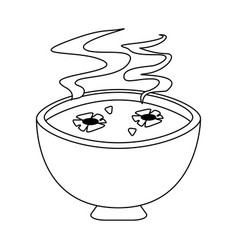 Spa aromatherapy oil in bowl black and white vector
