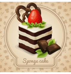 Sponge cake label vector image vector image