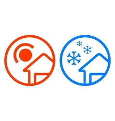 Sun and snowflake icon set vector
