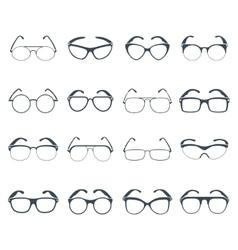 Sunglasses glasses black icons set vector