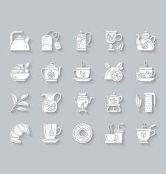 tea simple paper cut icons set vector image