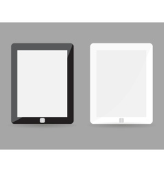 Two realistic tablet pc concept - black and white vector image