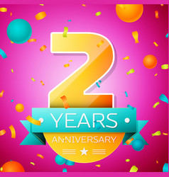 Two years anniversary celebration design banner vector